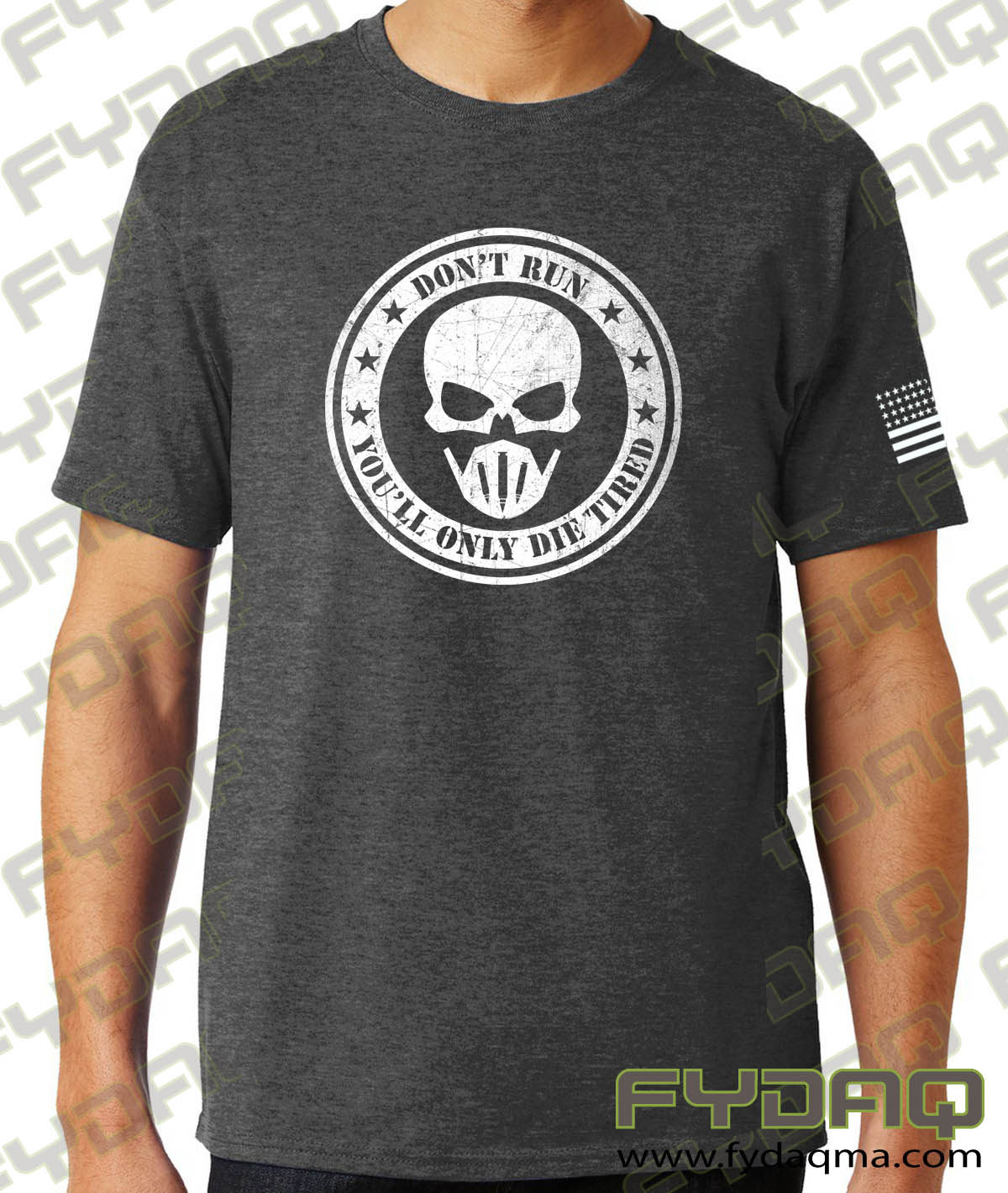 Don't-run-you'll-only-die-tired-charcoal-heather-grey-tshirt-fydaq