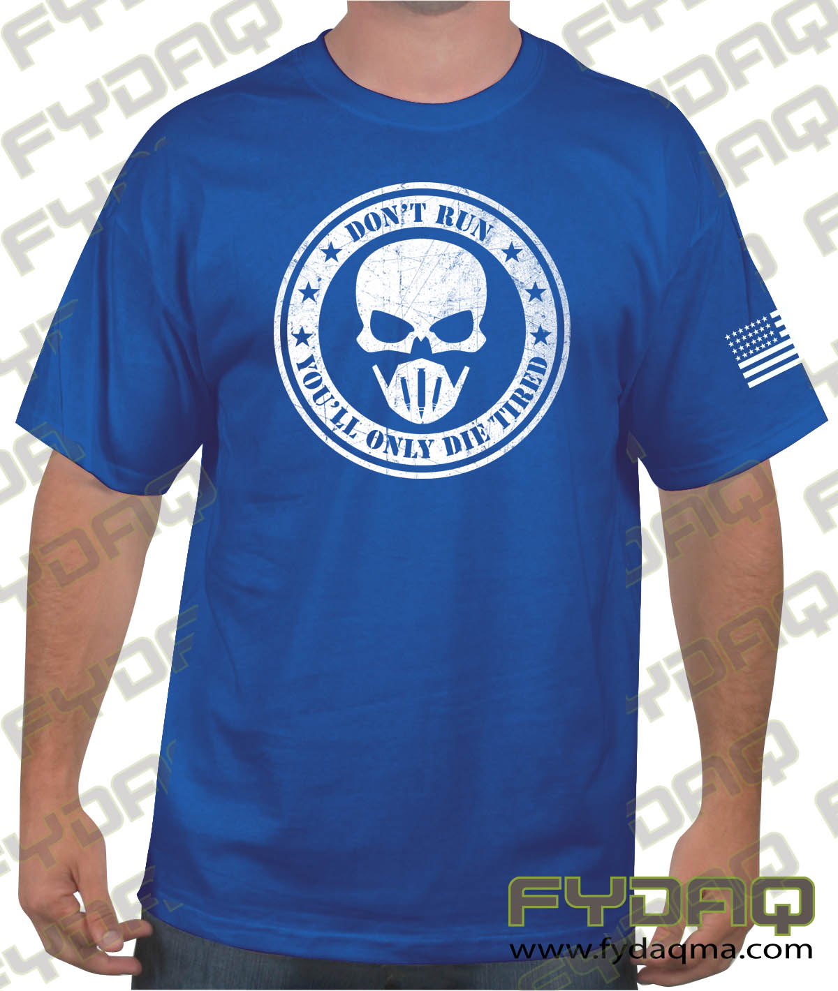 Don't-run-you'll-only-die-tired-royal-blue-shirt-FYDAQ